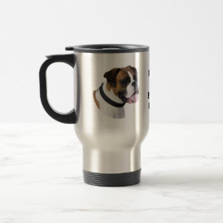 Boxer dog portrait photo travel mug