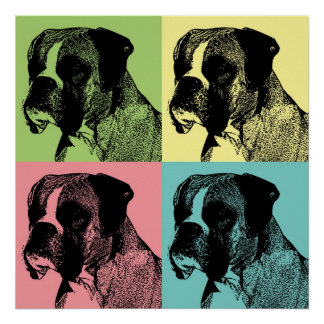 Boxer dog print in pop art style