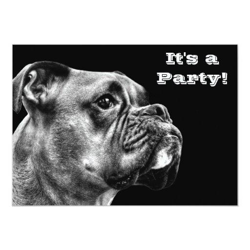 Boxer dog profile 5x7 paper invitation card