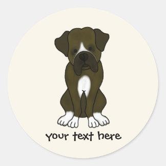 Boxer Dog Puppy Classic Round Sticker