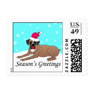 Boxer Dog Santa Stamp