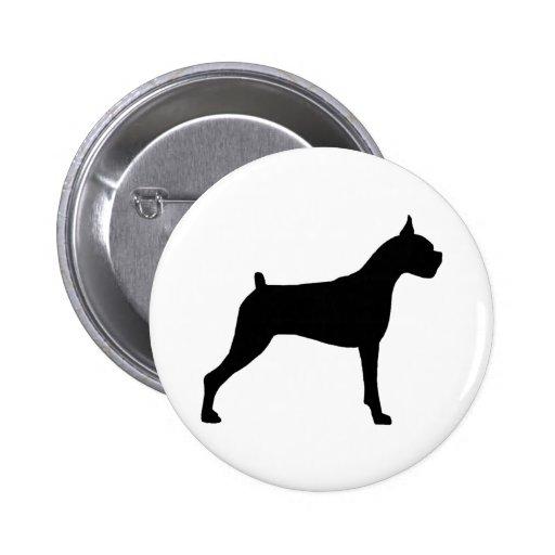 Boxer Dog Silhouette 2 Inch Round Button