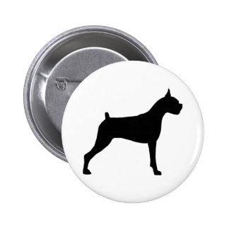 Boxer Dog Silhouette Button