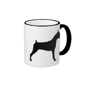 Boxer Dog Silhouette Coffee Mugs