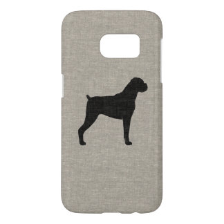 Boxer Dog Silhouette Faux Linen Style Samsung Galaxy S7 Case