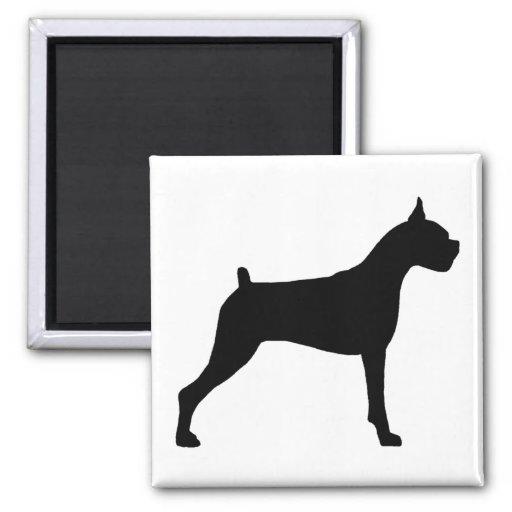 Boxer Dog Silhouette Fridge Magnets