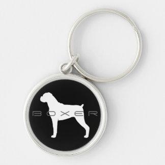 Boxer Dog Silhouette Keychain