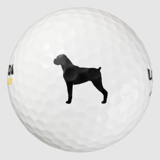 Boxer Dog Silhouette - Natural Ears Golf Balls