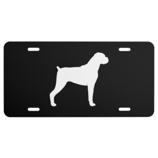 Boxer Dog Silhouette (Natural Ears) License Plate