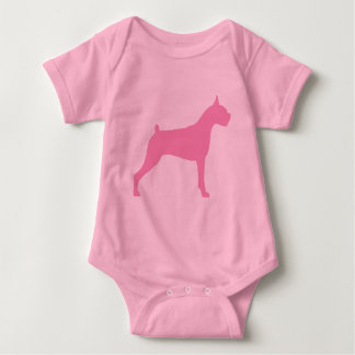 Boxer Dog Silhouette (pink) Baby Bodysuit