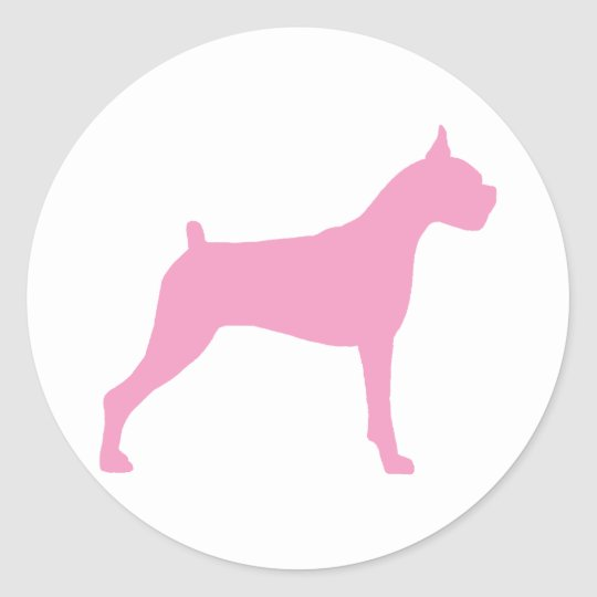Boxer Dog Silhouette (pink) Classic Round Sticker