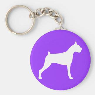 Boxer Dog Silhouette (white) Key Chains