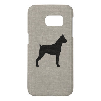 Boxer Dog Silhouette with Cropped Ears Samsung Galaxy S7 Case