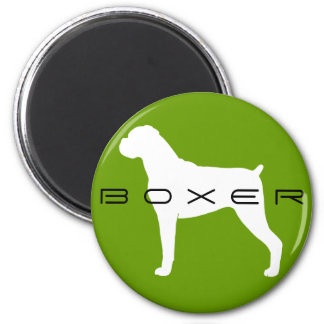 Boxer Dog Silhouette with Natural Ears 2 Inch Round Magnet
