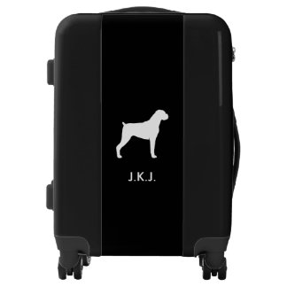 Boxer Dog Silhouette with Natural Ears Luggage