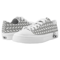 Boxer Dog Silhouettes Pattern Grey Low-Top Sneakers