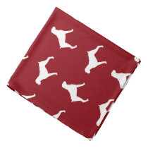 Boxer Dog Silhouettes Pattern - Natural Ears Bandana