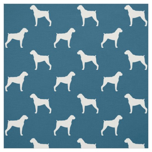 Boxer Dog Silhouettes Pattern Natural Ears Fabric Zazzle