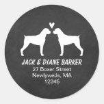 Boxer Dog Silhouettes Return Address Classic Round Sticker