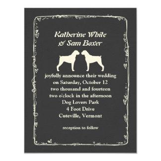 Boxer Dog Silhouettes Wedding Card