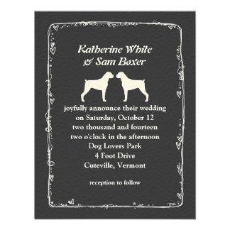 Boxer Dog Silhouettes Wedding Custom Announcement
