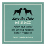 Boxer Dog Silhouettes Wedding Save the Date Personalized Invite