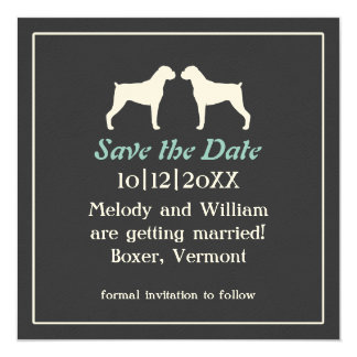 """Boxer Dog Silhouettes Wedding Save the Date 5.25"""" Square Invitation Card"""