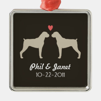 Boxer Dog Silhouettes with Heart and Text Metal Ornament