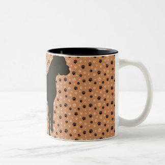 Boxer Dog Sillhouette Two-Tone Coffee Mug