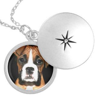 Boxer dog silver finish round locket