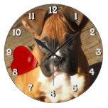 boxer dog square clock