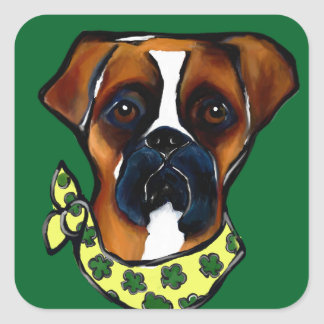 Boxer Dog St. Patty Square Sticker