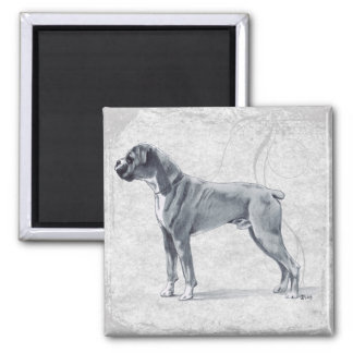 Boxer Dog Standing 2 Inch Square Magnet