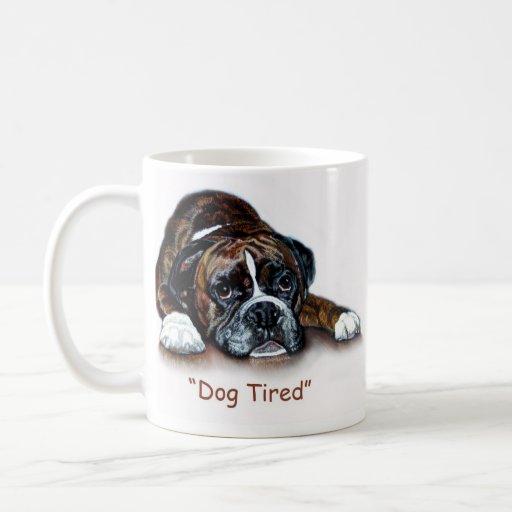 Boxer dog tired mug
