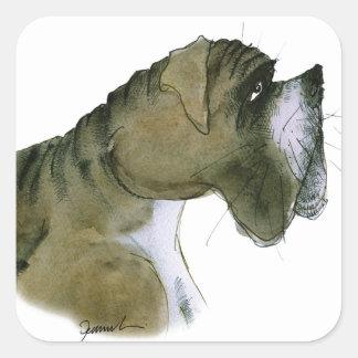 boxer dog, tony fernandes square sticker