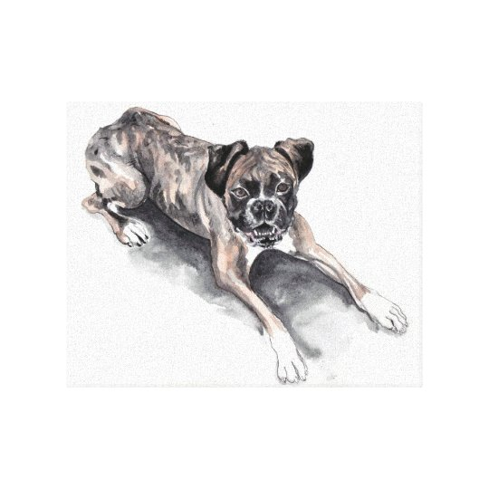 Boxer dog water colour painting. Print on canvas