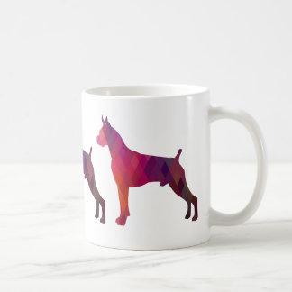 Boxer Dog Watercolor Geometric Pattern Silhouette Coffee Mug