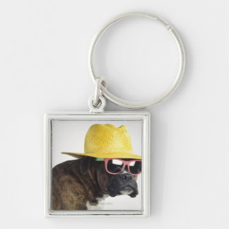 Boxer dog with hat and glasses keychain