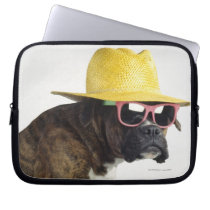 Boxer dog with hat and glasses laptop sleeve