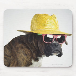 Boxer dog with hat and glasses mouse pad