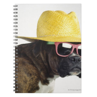 Boxer dog with hat and glasses spiral notebook