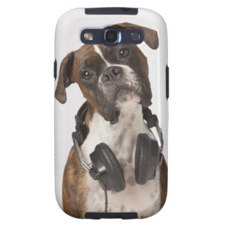 boxer dog with headphones galaxy s3 covers