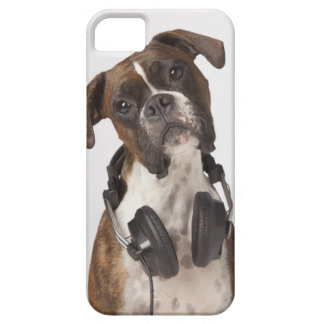 boxer dog with headphones iPhone 5 cover