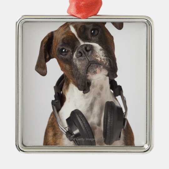 boxer dog with headphones metal ornament