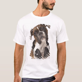 boxer dog with headphones T-Shirt
