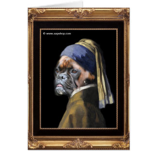 Boxer Dog with Pearl Earring  By Vinnie Vermeer Greeting Card