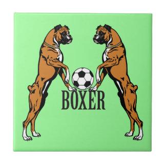 boxer dog with soccer ball ceramic tile