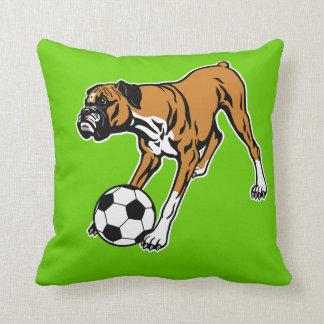boxer dog with soccer ball pillows