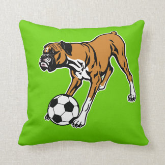 boxer dog with soccer ball throw pillow