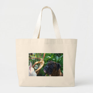 Boxer dogs and bubbles tote bag